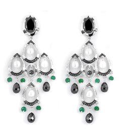 Black Diamond Chandelier Earring in 2 Tone Finish With Emerald Beads Diamond Chandelier Earrings, Black Diamond Earrings, Diamond Jewelry, Drop Earrings, Colored Diamonds, Antique Jewelry, Jade, Emerald, Jewelry Accessories