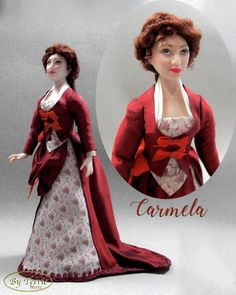 Dressed Red Hair Ooak Bjd Lady For 1:12 Doll House