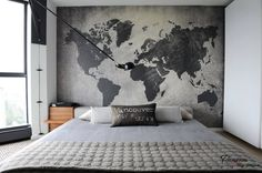 Eccentric Maps Decoration in the Interior for Adventurous Room Theme…