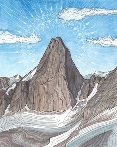 Snowpatch Spire Giclee Print - Bugaboos, British Columbia, Climbing Art, Mountain Art - Avis Nightowl - Re-Wilding Mountain Art, Mountain Climbing, Rock Climbing, Alpine Mountain, Mountain Illustration, Illustration Art, Climbing Outfits, Bugaboo, British Columbia
