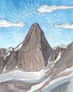 Mountain Art Print- Bugaboos Landscape Painting - Watercolor Illustration - Fine Art Print - Rock Climbing Art - 11 x 14