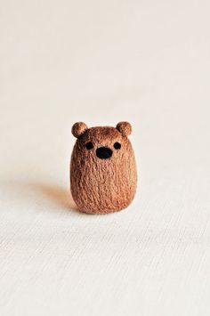 Bernie the Brown Bear Needle Felted Wooly handmadebybrynne.etsy.com