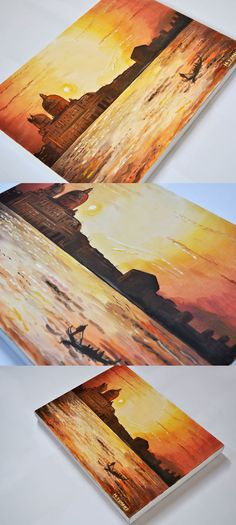 'Venice Sunset' - produced with gouache and watercolour. Limited colour painting produced with reds, browns and yellows/ Available to buy as a original on Haydn Symons Illustration website. Art prints, greetings cards and other paintings for sale.
