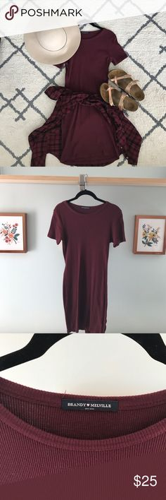 Maroon Brandy Melville T-Shirt/Sweater Dress Adorable never worn dress from Brandy Melville Brandy Melville Dresses Mini