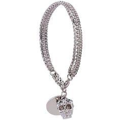 Alexander McQueen star dust skull bracelet ($345) ❤ liked on Polyvore featuring jewelry, bracelets, metallic, star bangle, alexander mcqueen bangle, chains jewelry, brass bangles and alexander mcqueen
