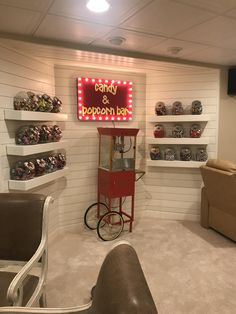 This candy and popcorn bar my parents added to their basement Theater Room Decor, Home Theater Room Design, Movie Theater Rooms, Home Cinema Room, Movie Rooms, Cinema Room Small, Tv Rooms, Game Room Decor, Game Rooms