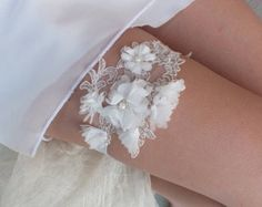free ship deep ruby floral garter set bridal by ByMiracleBridal