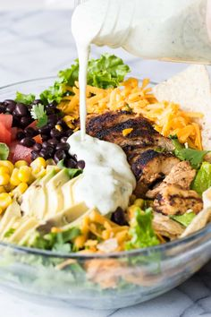 Chicken Taco Salad with Cilantro Ranch is bursting with flavor thanks to homemade taco seasoning. The cilantro ranch dressing is intoxicating! Taco Salad Bowls, Taco Salad Recipes, Healthy Salad Recipes, Soup And Salad, Mexican Food Recipes, Dinner Recipes, Pasta Salad, Dinner Ideas, Potluck Ideas