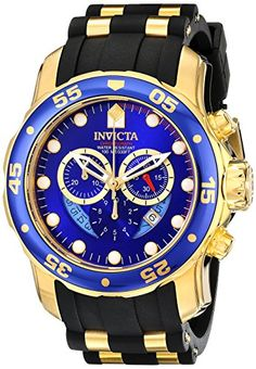 Invicta Pro Diver Men's Quartz Watch with Blue Dial Chronograph Display and Black PU Strap in Gold Plated Stainless Steel Case 6983 Invicta http://www.amazon.co.uk/dp/B003KRP0P0/ref=cm_sw_r_pi_dp_a.0Mvb0YZJ1KJ