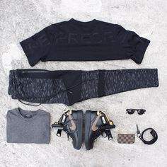 1) Represent Wraith shirt 2) Represent Shadow joggers - black panel 3) Represent relaxed long sleeve 4) Nike AF1 - RT 5) LV coin purse 6) Spitfire shades 7) Represent all black lanyard #Padgram