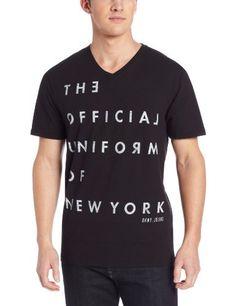 DKNY Jeans Men's Short Sleeve Official Uniform V-Neck Tee, Black Sale Price $19.99