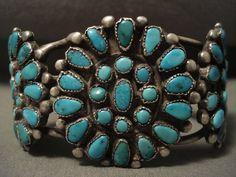 Début des années 1900 Zuni Vintage / Navajo Turquoise Bracelet en argent ancien