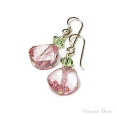 PEPPERMINT TWIST Swarovski Crystal Earrings via Etsy