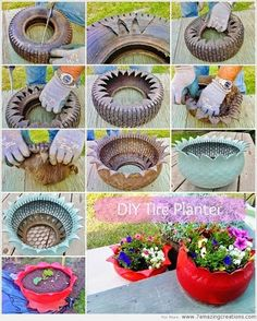 Do you might have an previous tire mendacity in your house that's of no use to you? If sure then give it a second life as a planter. To make a tire planter first rigorously make cuts within the previous tire in a zigzag method with a pointy knife as … Tire Planters, Concrete Planters, Garden Planters, Cement Garden, Garden Crafts, Diy Garden Decor, Garden Projects, Garden Ideas, Tire Craft