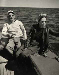 Adolph Gottlieb + his wife sailing in Provincetown, Mass.