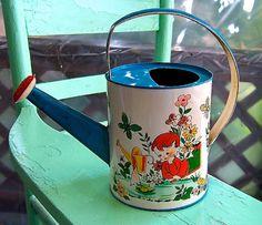 1950 Child Sailboat theme Litho Tin Watering by VintageUnderTheSun, $125.00