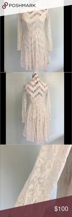 "Free People Lace Dress EUC (worn once).  This lace high neck, long sleeve beauty has and full lining that snaps off if you wanted to add something else underneath giving birth you a versatile look.  Also back has keyhole look with two buttons to close.  As seen in last pic an small ( maybe 1"") seperation of lace.   Price will reflect.  Easy fix.          (Pk#37) Free People Dresses"