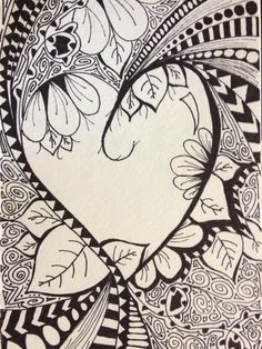 """Heart doodle ... by @KatersAcres  Good lordy, Oh, my! What an intricate """"doodle"""".  I can only say that my """"doodles"""" aren't nearly that detailed."""