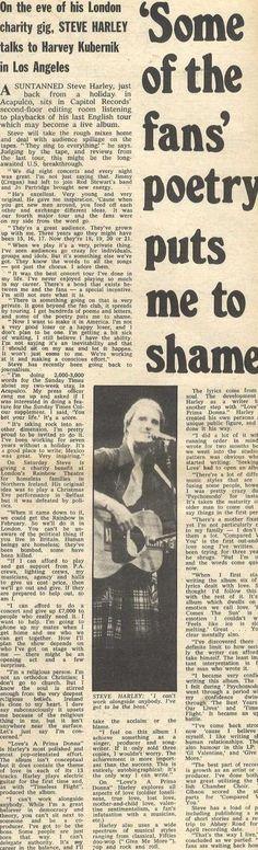 Steve Harley, newspaper cutting.   Fan poetry. Steve Harley, Press Release, Newspaper, Rebel, Charity, Poetry, Fan, In This Moment, Words