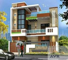 3 Storey House Design, Two Story House Design, Duplex House Design, Unique House Design, House Front Design, Building Elevation, House Elevation, Contemporary House Plans, Modern House Plans