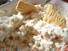 Cake Batter Dip- 1 C. vanilla yogurt, 1 tub cool whip, dry funfetti cake mix (as much to your taste)