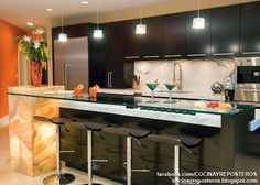 Modern Kitchen Bar Design Ideas with Bright Interior Kitchen Bar Design, Luxury Kitchen Design, Luxury Kitchens, Kitchen Designs, Small Kitchens, Modern Kitchens, Dream Kitchens, Kitchen Modern, Kitchen Wall Colors