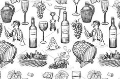 Hand drawn pattern of wine making by Netkoff on Creative Market Pattern Illustration, Pencil Illustration, Graphic Illustration, Illustrations, Wine Tattoo, Bottle Tattoo, Graphic Design Pattern, Graphic Patterns, Tattoos For Daughters