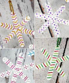 basteln-weihnachten-schneeflocken-eisstäbchen-glitzernder-weihnachtsbaumschmuck