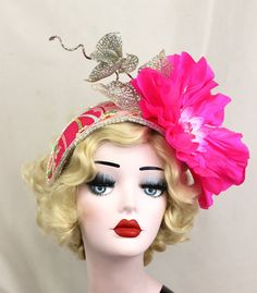 Hot Pink Flower Headpiece - Pink and Red Women's Hat - Surreal Shocking Pink Fascinator - Showgirl Headdress - Kentucky Derby - Ascot Races