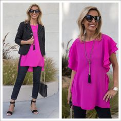 """New blog story """"Proportion Play with our Fuchsia Top and Black Eyelet Jacket"""" - both part of our 24-HR FLASH SALE! . Get 15% off on all our featured items today with code FS418 plus Free US Shipping www.jacketsociety.com"""
