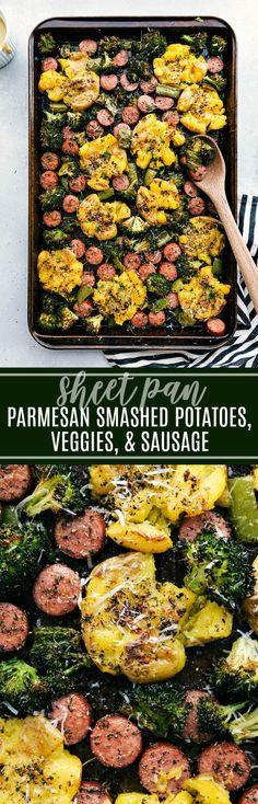 SHEET PAN Italian Sausage, Roasted Veggies, and Crispy Garlic Parmesan Smashed Potatoes! chelseasmessyapron.com #crispy #smashed #garlic #potatoes #veggies #sausage #easy #italian #quick #dinner #kidfriendly #parmesan #fast #prep #broccoli #pepper #herbs