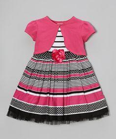 Another great find on #zulily! Pink & Black Stripe Flower Dress & Shrug - Toddler & Girls #zulilyfinds