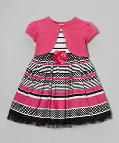 Another great find on #zulily! Pink & Black Stripe Flower Dress & Shrug - Toddler & Girls #zulilyfinds