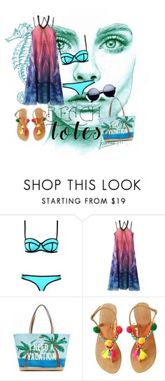"""beach totes"" by levichenckova-katya ❤ liked on Polyvore featuring WithChic, Kate Spade and beachtotes"