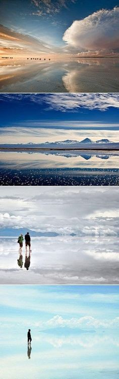 Salar de Uyni, Bolivia. During the rainy season it transforms into a mirror that you can walk on...or use it for mirror selfies.