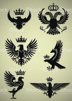 """Set of heraldry eagle and crown design elements,black colored.ZIP contain ,PDF and jpeg files. Crest Tattoo, Eagle Drawing, Tatoo Designs, Eagle Art, Eagle Tattoos, Samurai Tattoo, Animal Tattoos, Free Vector Art, Body Art Tattoos"