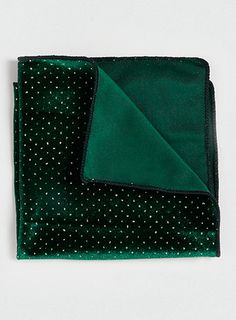 Green Velvet Crystal Pocket Square