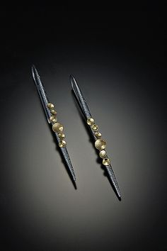 Lancia Earrings by Davide Bigazzi: Gold & Silver Earrings available at www.artfulhome.com
