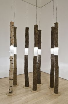 Ione Thorkelsson ~ 'Arboreal fragments'  (2004)  ‑  cast glass, found wood, lights,  at the National Gallery of Canada.