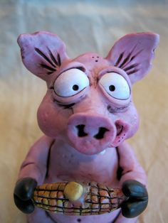 Pig Polymer Clay Sculpture Corn-licious Oinker. $22.00, via Etsy.