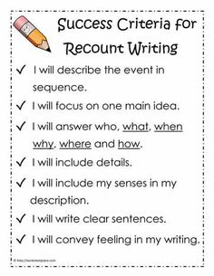 Narrative Success Criteria Text Types and Purposes Write narratives to develop real or imagined experiences or events using effective technique, descriptive details, and clear event sequences. Writing Strategies, Writing Lessons, Teaching Writing, Writing Skills, Teaching Ideas, Efl Teaching, Writing Genres, Writing Goals, Opinion Writing