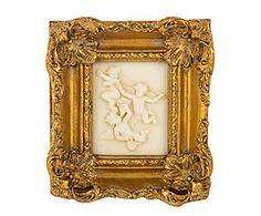Cornice dorata con decoro a rilievo jones - 18x19x4 cm