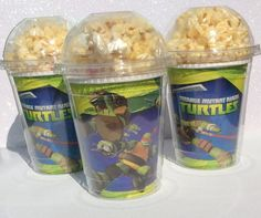 Set of 8 - Ninja Turtles Party Cups, PopCorn Box, Ninja Turtles Birthday Party, Favor Bag Ninja Turtle Birthday, Ninja Turtle Party, 6th Birthday Parties, Boy Birthday, Birthday Ideas, Ninja Party, Party Themes For Boys, Party Cups, Teenage Mutant Ninja Turtles