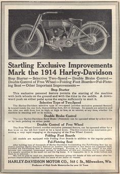 Harley-Davidson Motorcycle 1914 Indian Motorcycles, Triumph Motorcycles, Vintage Motorcycles, Harley Davidson Motorcycles, Harley Davidson History, Harley Davidson Engines, Vintage Harley Davidson, Vintage Advertisements, Vintage Ads