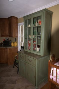 Stand Alone China Cabinet With Contrasting Finish Made For Out Of State  Client