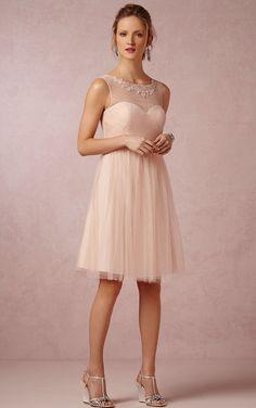 Baby pink illusion neckline short bridesmaid dress  www.sherrylondon.co.uk