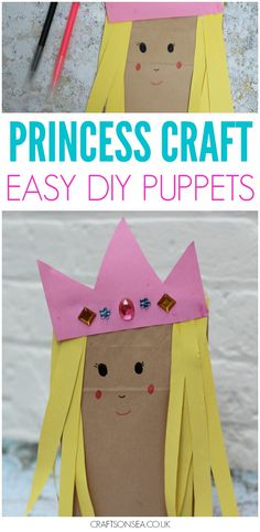 Like a bit of upcycling? Paper bag crafts are easy and cheap to make and this sweet princess craft for kids is perfect as a DIY puppet too #kidscrafts #eyfs