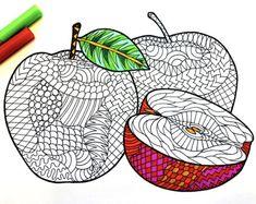 Apples PDF Zentangle Coloring Page By DJPenscript On Etsy