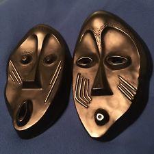 Pair Mid Century Modern Sculptureline Leo Middleman Chalkware Black Tribal Masks