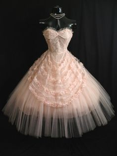 Prom Dress 1950's pink tulle